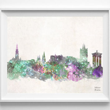 Edinburgh Skyline, UK Watercolor, Poster, United Kingdom Print,  Art, Cityscape, City Painting, Living room, Illustration, Europe [NO 444]