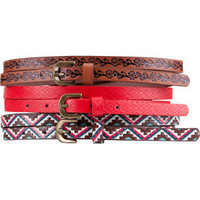 3 Pack Ethnic Skinny Belts 198862957 | belts | Tillys.com
