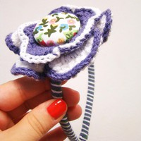 Violet Flower Crocheted Headband | Luulla