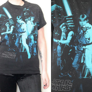 Vintage 90s Hipster // Star Wars Graphic T Shirt // Distressed Black Tee // XS Extra Small / Small / Medium