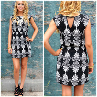 Tarleton Black Printed Fit & Flare Dress