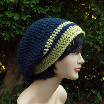 Navy Blue Slouch Beanie - Mens Crochet Hat with Light Green - Oversized Slouchy Beanie - Chunky Hat - Baggy Beanie - Slouchy Hat