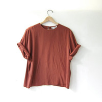 20% OFF SALE / vintage copper brown boxy blouse. oversized short sleeve shirt.