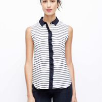 Crepe SL Striped Ruffle Shell