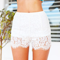 LILY SHORTS (WH) - lace shorts