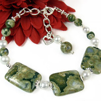Rainforest Jasper Green Gemstone Adjustable Bracelet, White Freshwater Pearls, Heart Charm, Sterling Silver, Earthy Handmade Beaded Jewelry