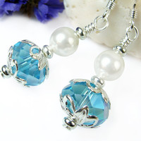 Sparkly Blue Crystal and White Pearl Earrings, Short Dangles, Faceted Glass, Swarovski, Sterling Silver Ear Hooks, Handmade Beaded Jewelry