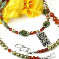Celtic Knot Gemstone Necklace, Green Freshwater Pearls, Carnelian, Rainforest Jasper, Agate, Sterling Silver, Pewter, Handmade Beaded OOAK