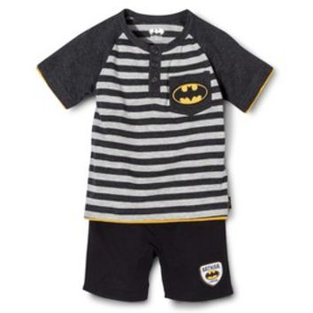 Batman Infant Toddler Boys' Short Sleeve Henley Tee and Boy Short Set