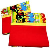 Pillowcase Child Bright Colors ABCs Red Yellow Handmade All Cotton