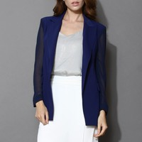 Chiffon Blazer with Sheer Panels in Navy