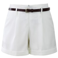 Basic Belted Shorts in White White
