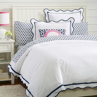 Vienna Scallop Duvet Cover + Sham, Royal Navy