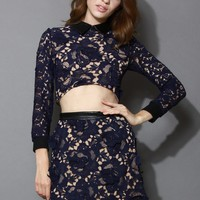 3D Flowers Textured Lace Crop Top and Skirt Set