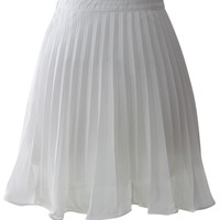 Ethereal Frilling Pleated Skirt in White