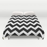 Chevron Black & White Duvet Cover by BeautifulHomes | Society6