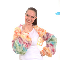CIJ Sale - Knit Shrug, Hand Knitted Mohair Shrug, Candy Cupcake by Solandia, autumn, fall, spring, summer, handknit shrug, multicolor, batik