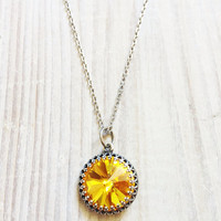 Kate Vintage Crown Swarovski Necklace in Golden Sunflower and Antiqued Silver from Gina-Marie Accessories | Made By Gina-Marie | £35.00 | BOUF