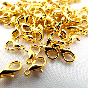 Gold Lobster Clasps, 50 Gold Plated Clasp, Gold Findings, 10mm Gold Clasps, 50 Jewelry Lobster Clasp Fasteners, Jewelry Making Supplies