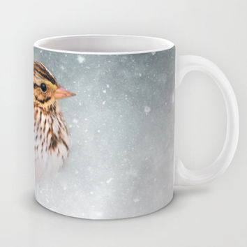 Snow Sparrow Mug by Jai Johnson