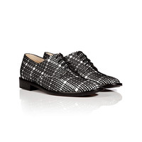 Robert Clergerie - Leather/Velvet Plaid Oxfords