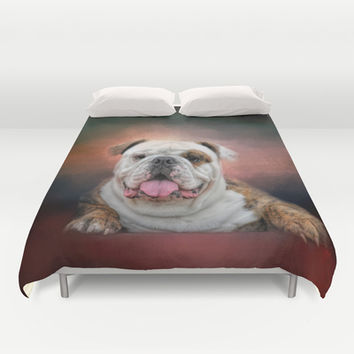 Hanging Out - Bulldog Duvet Cover by Jai Johnson