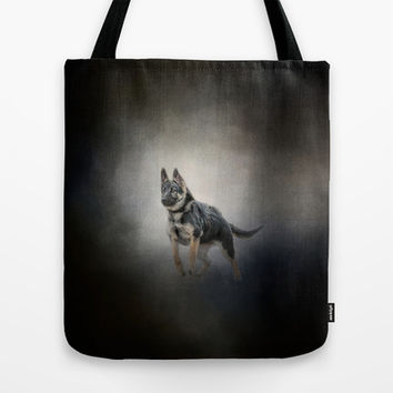 Feet First - German Shepherd Puppy Tote Bag by Jai Johnson