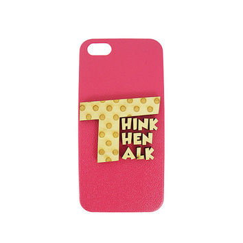 Think Then Talk Polka dot 3d  Wood Typography For Iphone 5, Iphone 4/4s