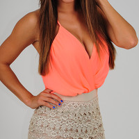 Feels Like Today Romper: Neon Coral/Beige