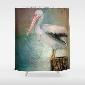 Perched Pelican Shower Curtain by Jai Johnson