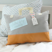 $40.00 Lets Fly Away Suitcase Stuffed Pillow by OliveHandmade on Etsy