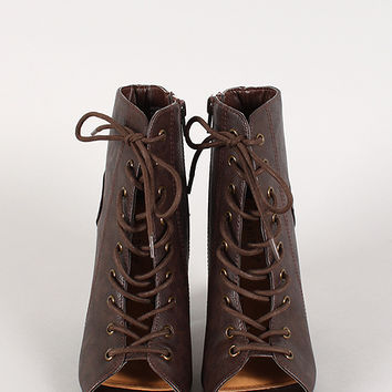 Bamboo Abbatha-08 Lace Up Peep Toe Ankle Bootie