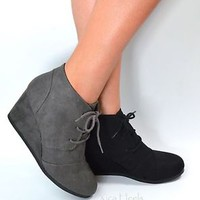 Women's Ankle Boots Wedge Heel Lace Up Booties Black or Charcoal Size 5.5-11 New