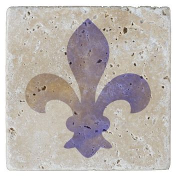 Blue Gold French Fleur de Lis Stone Coaster