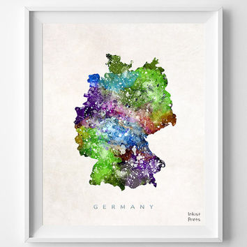 Germany Map, Berlin Watercolor, German, Europe, Home Town, Poster, Gift, Country, Nursery, Wall Decor, Painting, Bedroom, world map [NO 455]