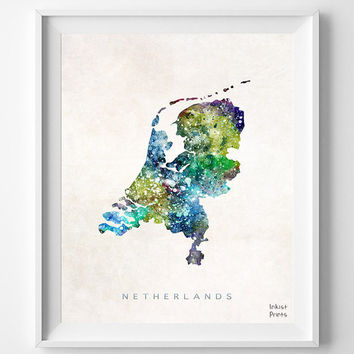 Netherlands Map, Amsterdam Watercolor, Dutch, Europe, Home Town, Poster, Gift, Country, Wall Decor, Painting, Bedroom, world map [NO 454]