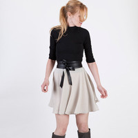 Mod Beige Short Mini Circle Skirt with High Waist by BritishSteele