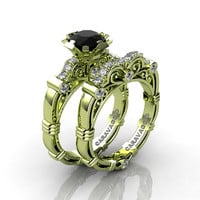 Art Masters Caravaggio 18K Green Gold 1.0 Ct Black and White Diamond Engagement Ring Wedding Band Set R623S-18KGGDBD