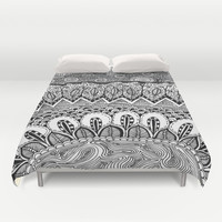 Black and White Doodle Duvet Cover by Kayla Gordon | Society6