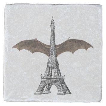 Paris Eiffel Tower Gothic Bat Wing Stone Coaster