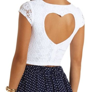 HEART CUT-OUT LACE CROP TOP