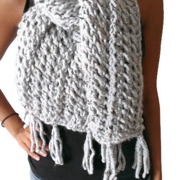 Handmade Gray Silver with Subtle Hints of Brown and Black Warm Winter Scarf,  Fashion Scarf, Chunky Scarf