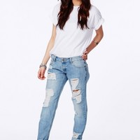 Missguided - Dylan Ripped Boyfriend Jeans In Light Vintage