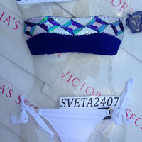New Sexy Victoria's Secret Sequin Zig Zag Bandeau Bikini Set M L Shimmer White