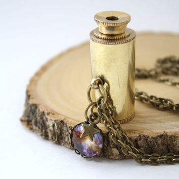 Spyglass Necklace, Telescope Necklace, Space Jewelry, Gypsy Jewelry, Galaxy Necklace