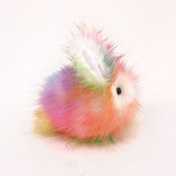 Rainbow Prism Bunny Rabbit Cute Plush Stuffed Animal Toy  - 4x5 Inches Small Size