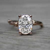 Oval Moissanite Twig Engagement Ring: Rose, White, Yellow Gold, 1.5ct, Forever Brilliant