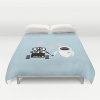 pixar walle and eve love and romance... minimalistic Duvet Cover by studiomarshallarts