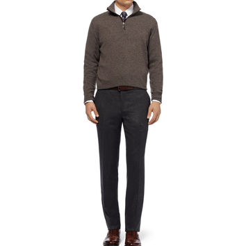 Doriani - Suede-Trimmed Zip-Collar Cashmere Sweater | MR PORTER