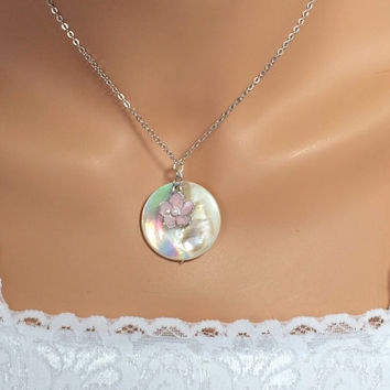 Mother of Pearl Necklace Pink Flower Necklace Friendship Gift Beach Jewelry